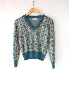 Vintage 60s Blue & Tan Old Fashion Print Sweater // Vneck Spring Knit Top. $44.00, via Etsy.