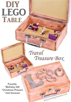 DIY Travel Lego Table Treasure Box Tutorial Make a great birthday gift…