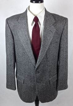 Barrington Blazer Mens Gray Wool Sport Coat Jacket 42 R #Barrington #TwoButton