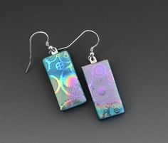 New to GlassCat on Etsy: Dichroic Glass Steampunk Earrings Blue and Pink Glass Earrings Fused Glass Earrings Silk and Satin Glass Earrings Textured Glass Earring (20.00 USD)