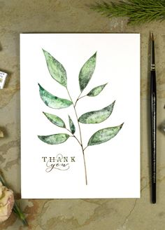 Simple Twig Watercolor Thank You Card Tutorial – The Postman's Knock Watercolor Paintings For Beginners, Watercolor Projects, Pen And Watercolor, Watercolour Tutorials, Watercolor Birthday Cards, Calligraphy Cards, Paint Cards, Creative Cards, Greeting Cards Handmade