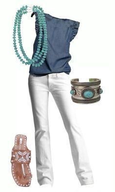 Fashion Ideas For Women Over 40 -- navy draped neck top, gray trousers, green earrings (from Dijon), blue-&-green sandals