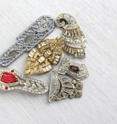 Antique Art Deco Rhinestone Brooch Dress Clip Repair Lot - 6 Vintage Silver & Gold Tone Broken Costume Jewelry Pins / 1920s Destash Supplies by Maejean Vintage on Etsy $24.00