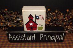 Assistant Principal primitive wood blocks sign by PrimitiveHodgePodge