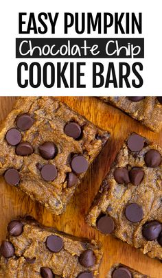 These chocolate chip pumpkin bars are the perfect easy dessert for Fall! Gooey Chocolate Chip Pumpkin Bars They're like a cross between chocolate chip cookies and homemade pumpkin pie. Healthy Vegan Dessert, Cake Vegan, Vegan Desserts, Dessert Recipes, Easy Desserts, Healthy Pumpkin Bars, Vegan Treats, Dessert Ideas, Paleo