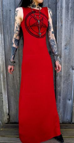 Red Pentagram Maxi Dress by HellCouture on Etsy, $130.00