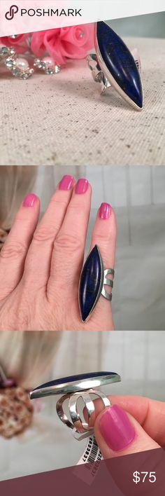 Lapis Lazuli Elongated Sterling Silver Ring Just in time for Valentines Day.  Comes with gift box ready for gift giving!  The Lapis is a beautiful dark blue stone with flecks of yellow.  It's set in sterling silver. Stamped .925 and is new with tags. Size 6. Offers are always welcome.  BQR13 Jewelry Rings