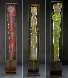 Marlene Rose, Artist, African Trio, 2012, sand cast glass and steel, 58 x 36 x 9 #ArtonTap #glassart