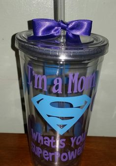 Mom Gift Tumbler Super Mom Personalized by dreamingdandelions