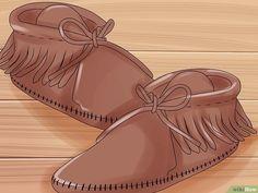 Image titled Make Moccasins Step 22 Moccasins Mens, Baby Moccasins, Diy Leather Moccasins, Beaded Moccasins, Justin Boots, How To Make Moccasins, Baby Moccasin Pattern, Native American Moccasins, How To Make Leather