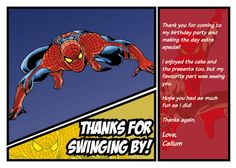 Spiderman Thank You Card  Can Be by chrismasillustrates on Etsy, £3.00