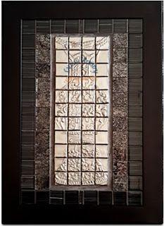 Pewtered mosaic tile vase