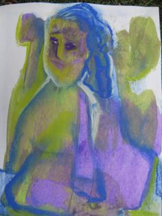 judy's journal, self portrait, acrylic and chalk pastel