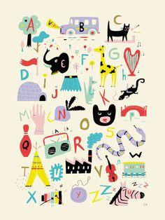 #Alphabet #Poster, #Illustration für #Kinder.