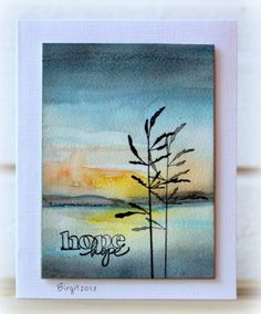 By Birgit Edblom (Biggan at Splitcoaststampers). Watercolor background on watercolor paper.