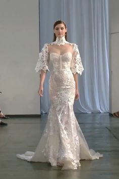 Berta Style Stunning Embroidered Ivory Lace Sweetheart Mermaid Wedding Dress / Bridal Gown with High Neck, Strapless Illusion, Open Back Illusion, Half Long Sleeves and a Train. Fall Winter 2019 Bridal Couture Runway Show Collection by Berta Long Wedding Dresses, Bridal Dresses, Wedding Gowns, Fashion Wedding Dress, Lace Wedding, Dress Fashion, Runway Fashion, Bridal Lace, Berta Bridal