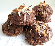 Chocolate Coconut Bliss Cookies- chewy fudgy chocolate cookie with coconut inside and out. Like a Mounds bar cookie! | The Monday Box