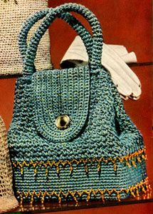 Sparkling Sailor Bag | Vintage Crochet Patterns. //  I REMEMBER THESE BAGS! THEY HAD A HARD BOTTOM, AND THE TOP PART WAS SOFT!  ♥A