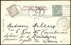 Vintage Ephemera: Postcard cancelled in London, August 1904, and taxed in Nanterre (France)