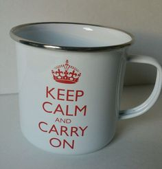 KEEP CALM and CARRY ON Enamel Coffee Mug Wild and Wolf cup tin
