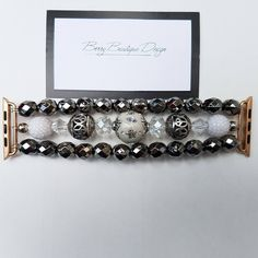 """Apple Watch Band 38mm, Apple Watch Band 42mm , Apple Watch Series I and II, Faceted beaded watch band, Style """"Give Peace a Chance"""" by BerryBoutiqueDesign on Etsy"""