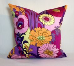 Cushion Cover Handmade Vintage Fabric & Organic Cotton, Pink Floral x