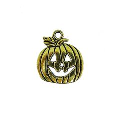 Gold Pewter 16mm Jack-O-Lantern Charm | Auntie's Beads