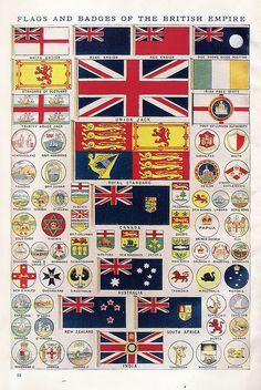 Historical Flags and badges of the British Empire. Historia Universal, British Army, British Empire Flag, British Isles, My Roots, Flags Of The World, National Flag, Union Jack, British History