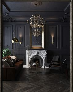 Black apartment in St. Petersburg, 75 m² on Behance Gothic Interior, Luxury Interior, Home Interior Design, Interior Decorating, Deco Studio, Dark Living Rooms, Dark Home Decor, Dark House, Dark Interiors