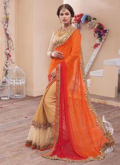 Orange Georgette Wedding Saree 66894
