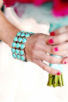 A turqoise bracelet might be pretty to pull in the blues of the wedding party? Turquoise Country Weddings, Turquoise Wedding Jewelry, Turquoise Cuff, Bridal Jewelry, Turquoise Bracelet, Jewelry Box, Turquoise Accents, Bridal Accessories, Jewlery