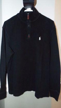 Ralph Lauren Polo 1/2 zip sweater mens size L, Black 100% cotton  #RalphLauren #12Zip