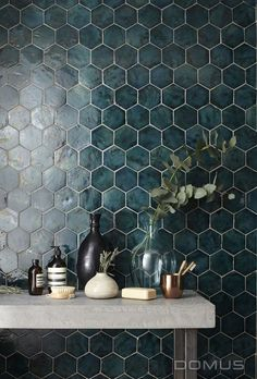 Image result for bathroom with dark teal tiles