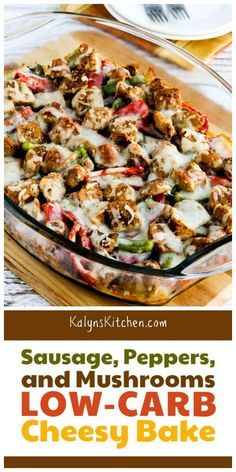 Sausage, Peppers, and Mushrooms Low-Carb Cheesy Bake - Low Carb Dinner Recipes Keto Foods, Healthy Low Carb Recipes, Ketogenic Recipes, Keto Recipes, Cooking Recipes, Low Carb Dinner Recipes, Paleo Food, Veggie Food, Keto Meal