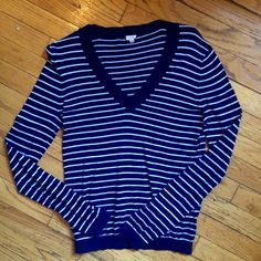 J.Crew Stripped Sweater Great condition! Stripped blue and white J. Crew sweater! 15% off bundles of 2+! J. Crew Sweaters V-Necks