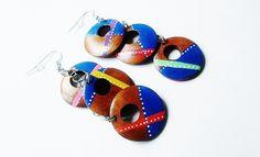 Boucles d'oreilles, créoles,  multicolres, style bohème, graphiques, peintes à la main
