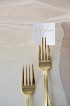 stick a fork in it, literally, for chic little seating assignments  Photography By / rebekahwestover.com, Styling, Design   Coordination By / attention2detailevents.com