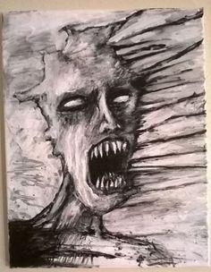 """""""THE HOWL"""" original art, 14"""" x 18"""" acrylic on canvas"""