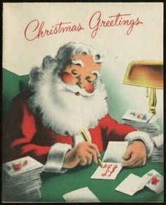 How adorable is this Santa. Love this image. Nothing like vintage Christmas. Old Time Christmas, Christmas Card Images, Old Fashioned Christmas, Vintage Christmas Cards, Retro Christmas, Vintage Holiday, Christmas Greeting Cards, Christmas Art, Christmas Greetings