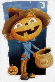 Patrón en PDF para Punto de Cruz de Calabaza Halloween