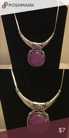 Beautiful Silver and Purple Pendant Necklace Beautiful Silver Braided and Purple Pendant Necklace. Classy ! Jewelry Necklaces