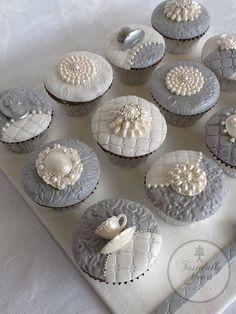 Gray & White Cupcakes