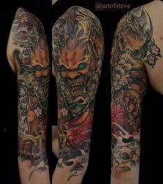Chronic Ink Tattoo - Toronto Tattoo  Foo dog half sleeve tattoo done by BKS.  #cultural #tattoo #tattoos   tatuajes | Spanish tatuajes  |tatuajes para mujeres | tatuajes para hombres  | diseños de tatuajes http://amzn.to/28PQlav