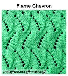 Knitting Stitch Patterns - Lace knit stitch: Flame Chevron