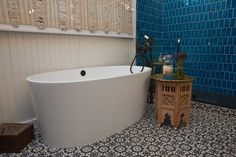#WatchandPin  #DearGenevieve  Bathtub and tiled floor, part of the design transformation.  (Air Date:  Sept 21 5pmEST)