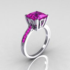 Modern Italian 14K White Gold 2.0 Carat Princess Pink Sapphire Solitaire Ring R312-14KWGPS by artmasters on Etsy https://www.etsy.com/listing/80834937/modern-italian-14k-white-gold-20-carat