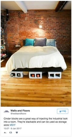Creative Uses of Concrete Blocks in Your Home and Garden --> Cinder block bed risers Decorative Cinder Blocks, Diy Bed Risers, Lit Plate-forme Diy, Diy Bett, Dreams Beds, Diy Bed Frame, Bedroom Images, Concrete Blocks, Diy Concrete