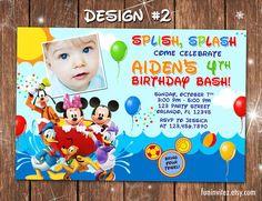 Mickey Mouse Clubhouse Swim Beach Birthday Party Photo Invitations Pool Splash Slide - Printable