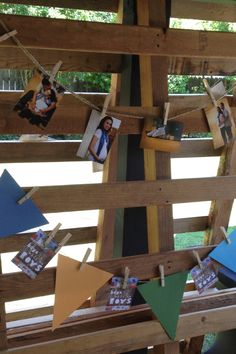 """Boys will be Boys"" themed baby shower. Pallet with bunting and maternity photos."
