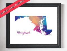 Maryland Art, https://www.etsy.com/listing/458855328/maryland-art-maryland-map-state-outline?ref=shop_home_active_43 Maryland Map, State Outline, Maryland Print, State Art, State Prints, MD State Pride, State Silhouette Art, Map Art, Map Print